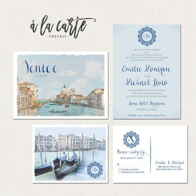 Venice Italy Destination Wedding Invitation Set Venetian
