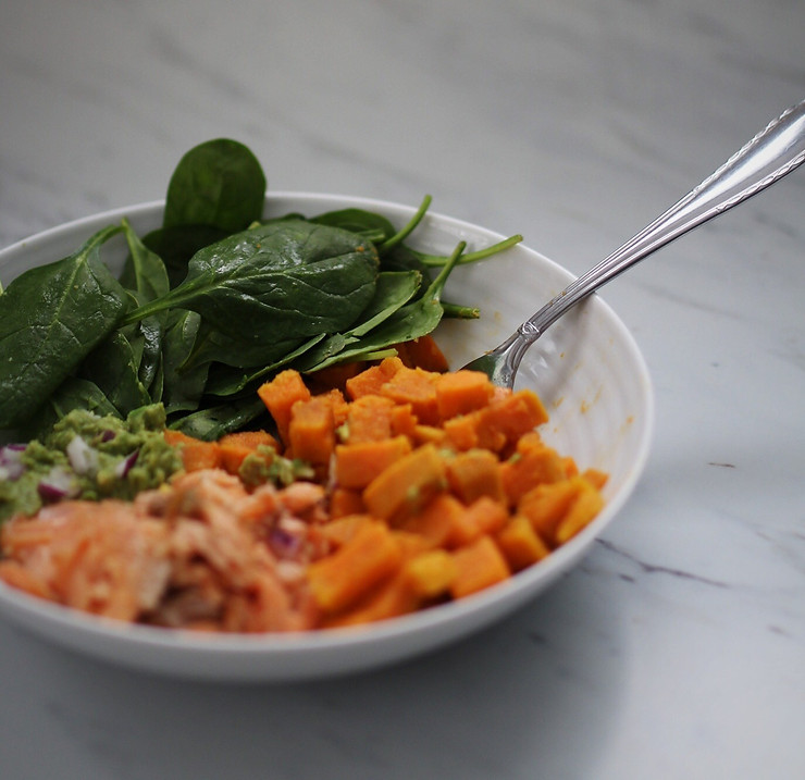 Heart Healthy Bowl - thawed Arctic charr, spinach, and sweet potato