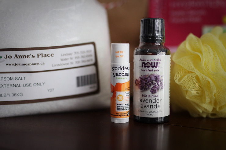 Jo Anne's Place Epson Salt, Goddess Gars SPF, NOW lavender essential oil
