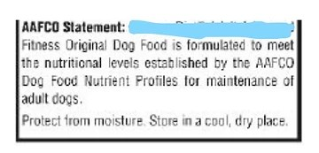 AAFCO pet food statement example