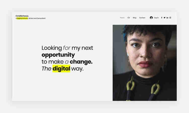 Personal website homepage example