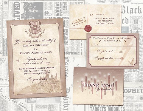 Harry Potter Wedding Invitation Set Geeky Nerdy Offbeat Digital Files