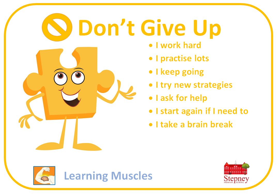 Growth Mindset Learning Muscle Of The Week Don T Give Up