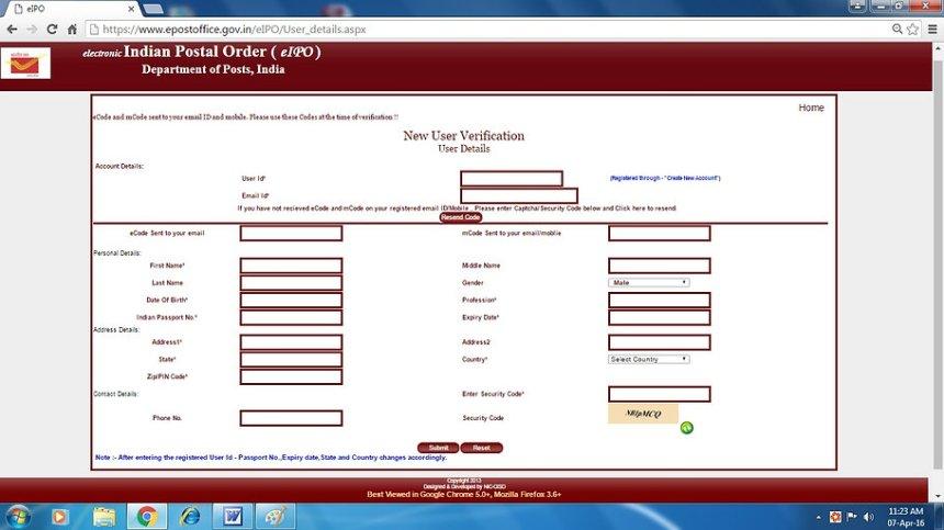 How to get Indian Postal Order Online - 3