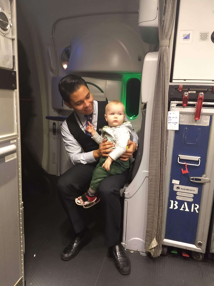 Baby with the plane crew