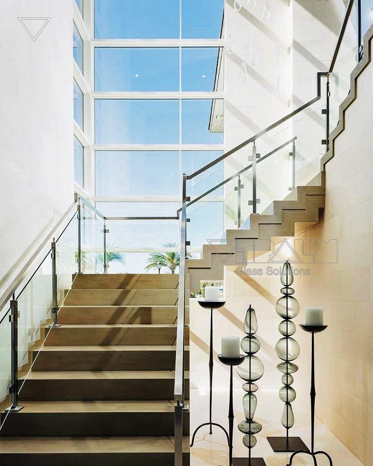 Frameless Glass Railings Orlando Vitralum Glass Solutions | Glass Handrails For Stairs | Wood | Frameless | Outside | Standoff | Residential