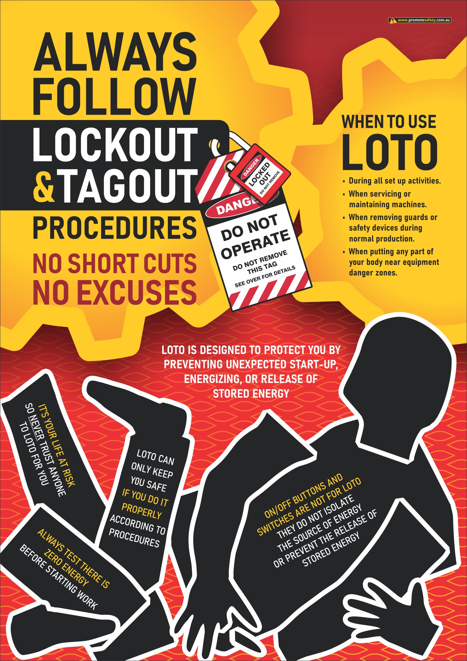 lockout tagout loto safety posters promote safety