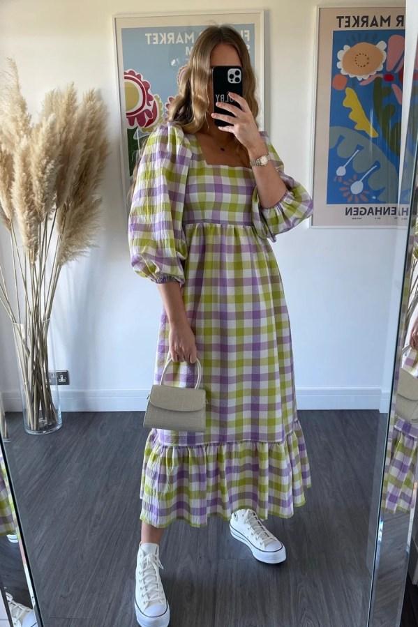 Patty Dress - Lilac & Lime molby