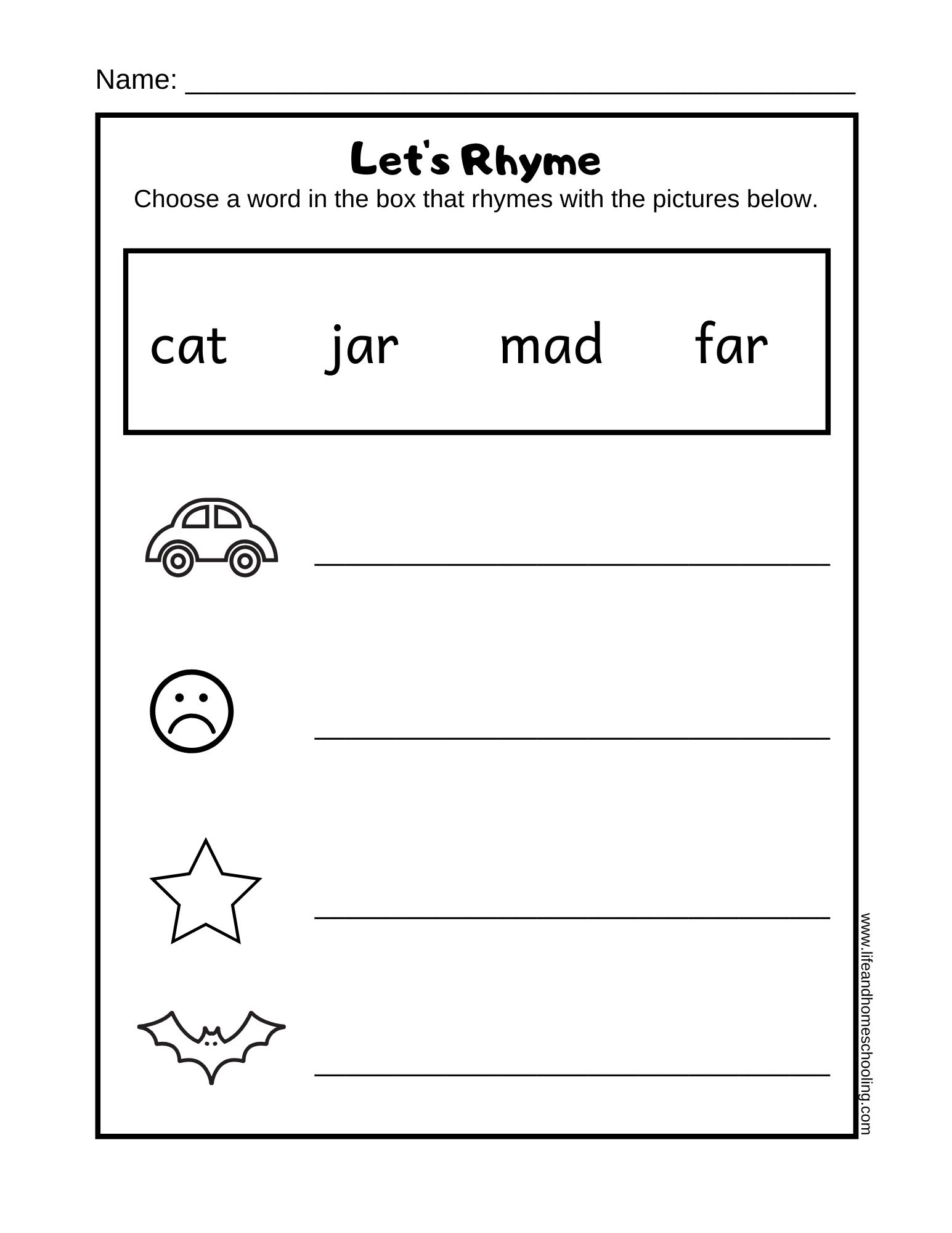 Free Rhyming Printable Worksheet Life And Homeschooling