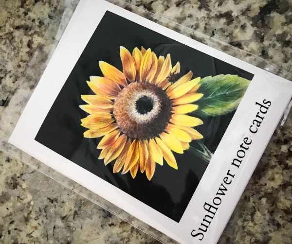 flower note cards sunflowers cash mob find