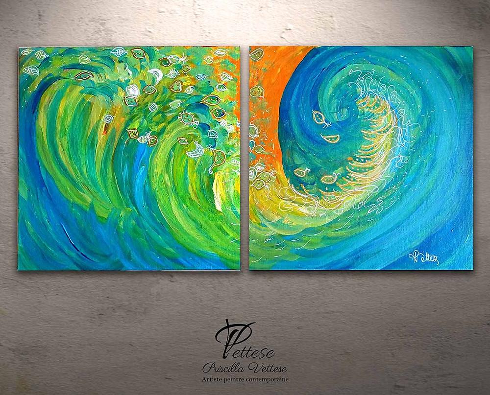 acheter tableau abstrait bleu vert