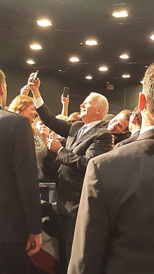 Vice President taking selfies on the rope line