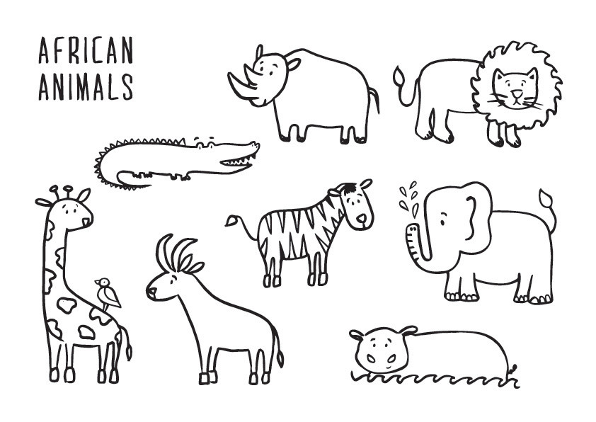 African Animals Colouring Page