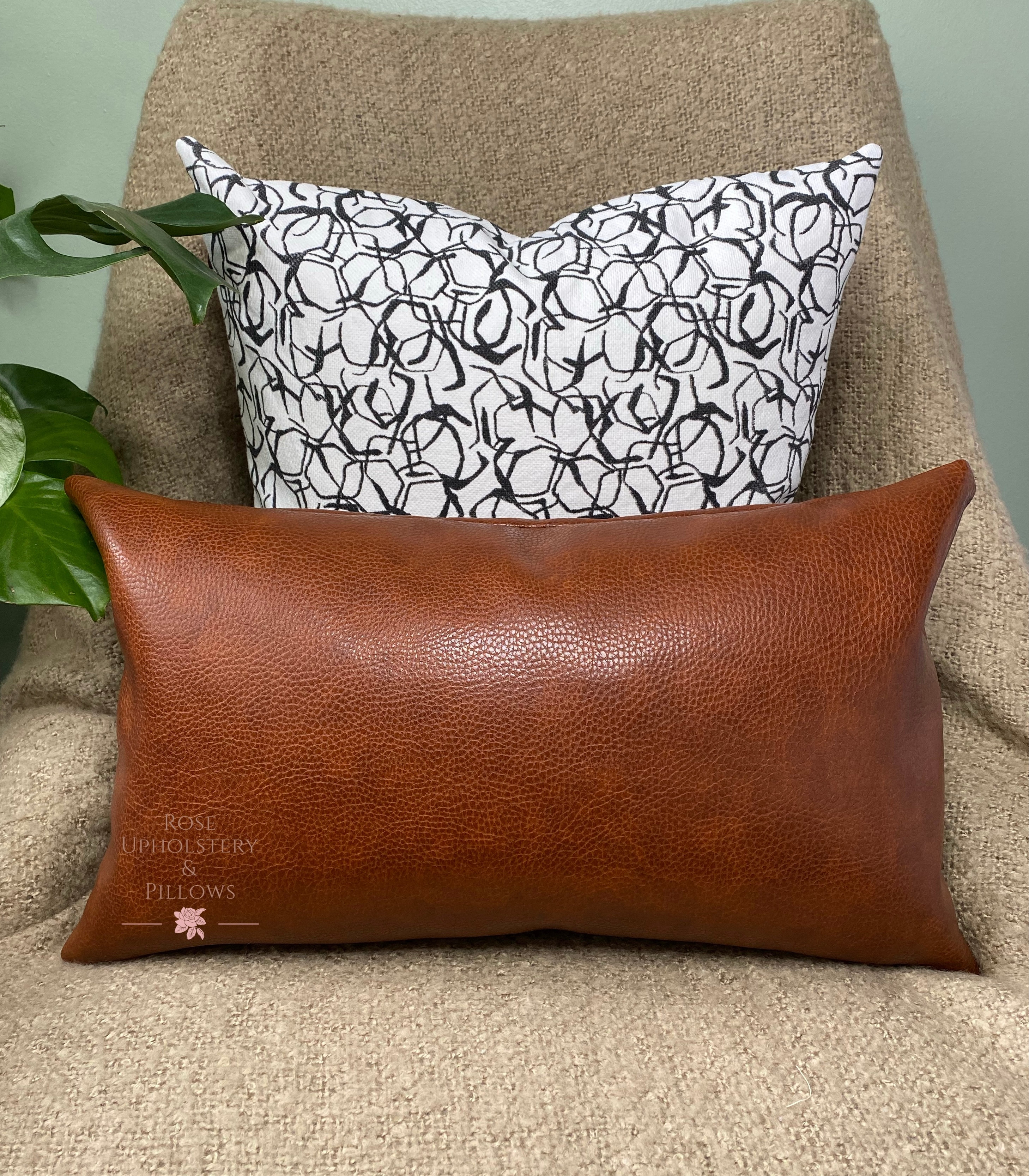 single 20x12 brown faux leather pillow rose upholstery p