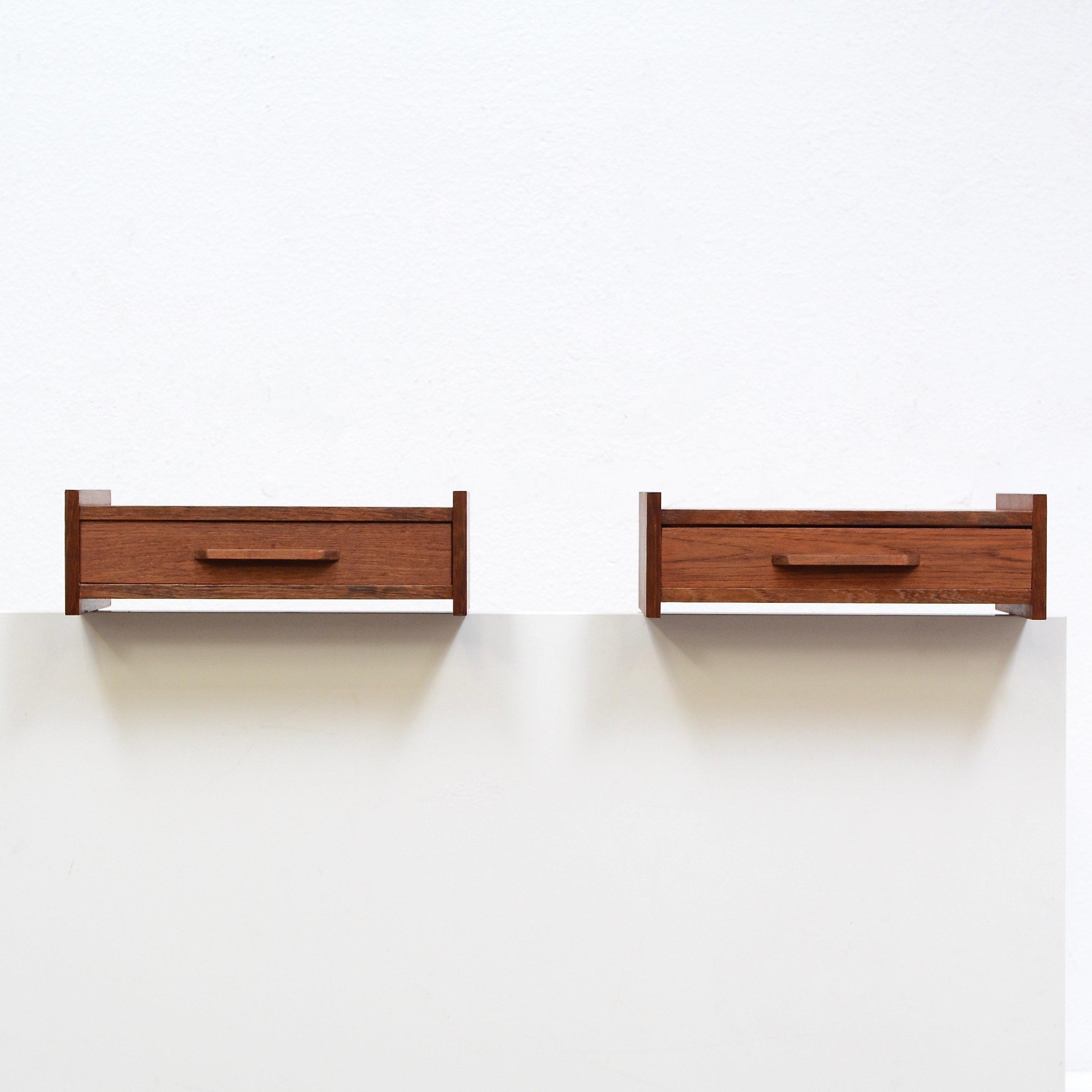 A Pair Danish Modern Teak Floating Nightstand Shelf Tables