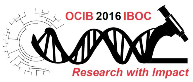The OCIB 2016 logo, a cladogram connected to a horizontal DNA strand connected to a microscope, framed with the name