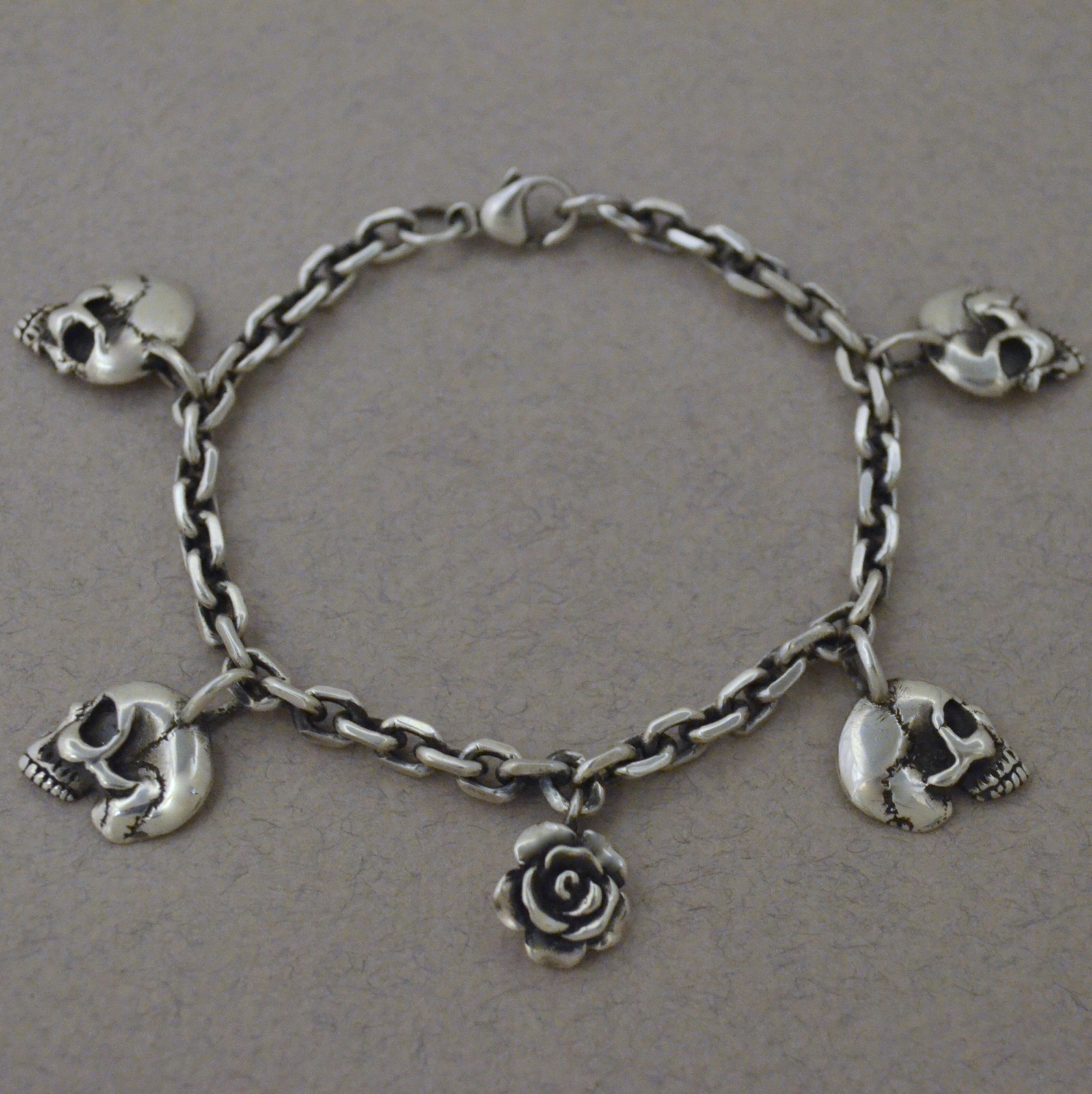 Skulls and Rose Charm Bracelet The Wildness Jewellery