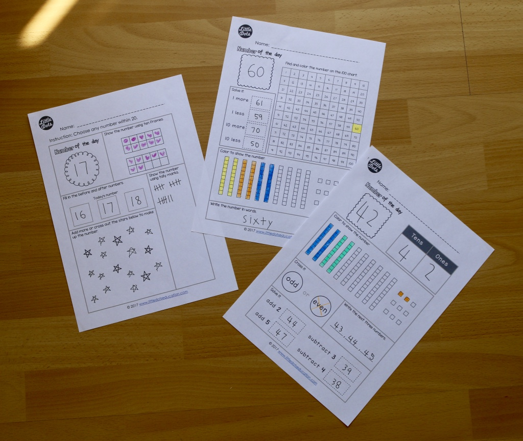 Free Number Of The Day Printable And Worksheet For K 2
