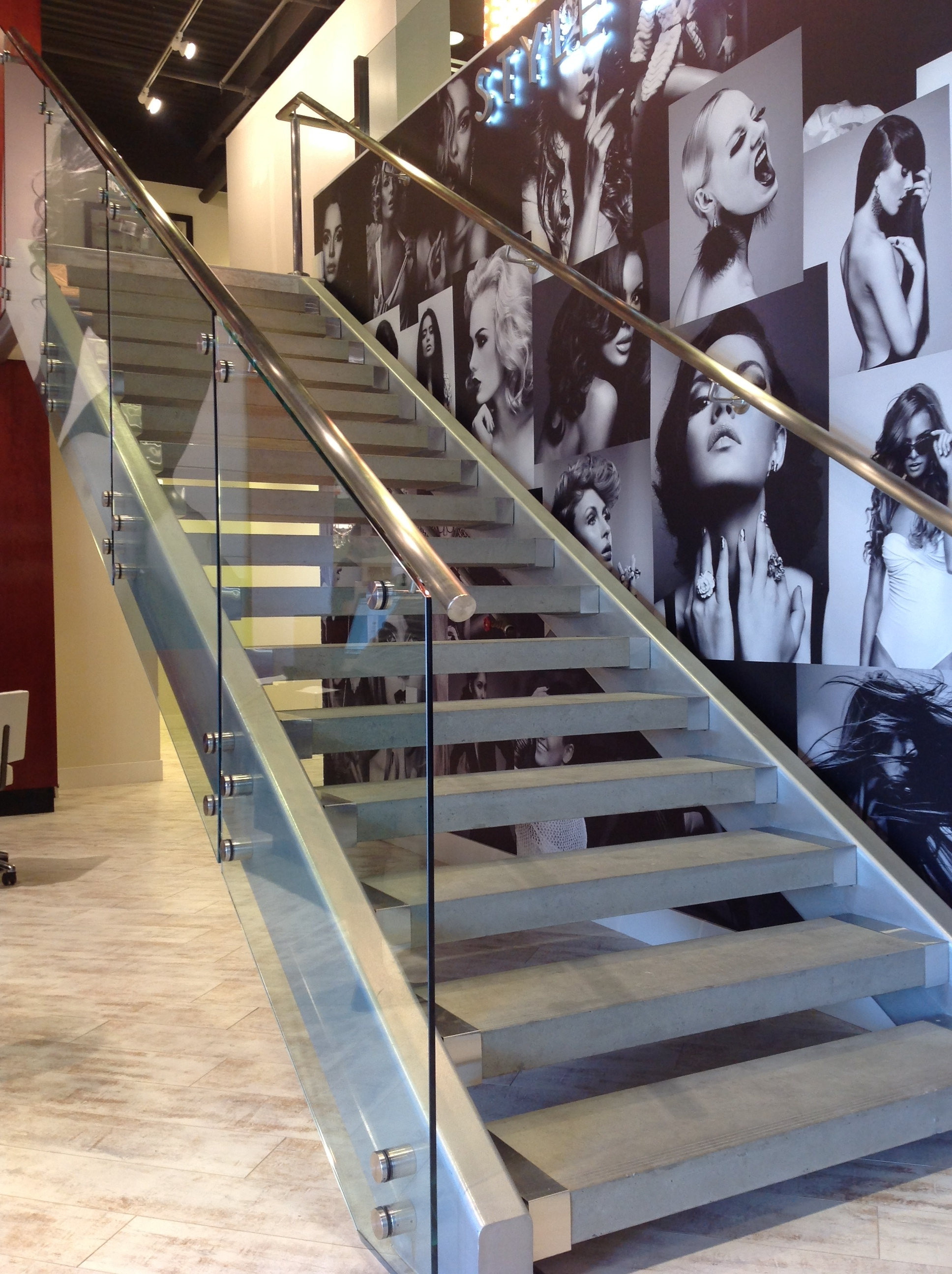 Glass Railing Stair Railways Hearth Home Specialties Las Vegas | Glass Railing Designs For Stairs | Spiral Staircase | Beautiful | Contemporary | Curved | Guardrail