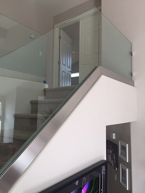 Glass Railing Stair Railways Hearth Home Specialties Las Vegas | Steel Stair Railing Price | Metal | Design | Steel Ordinary | Mild Steel | Ss Steel