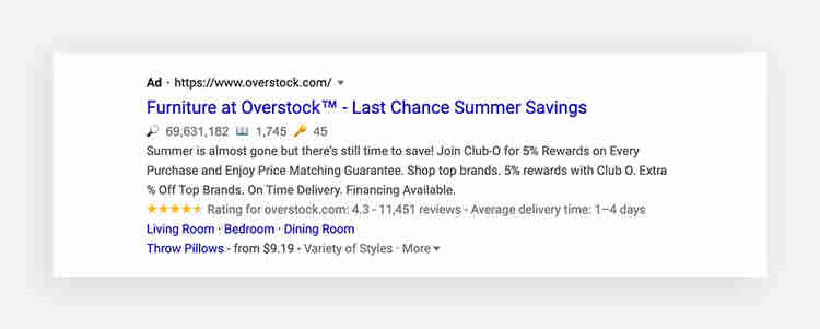 Google ad example by Overstock