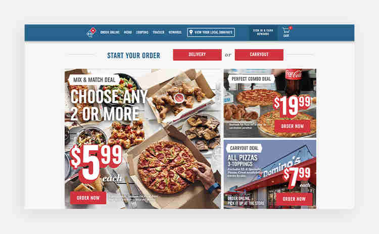 call to action examples on Domino's website