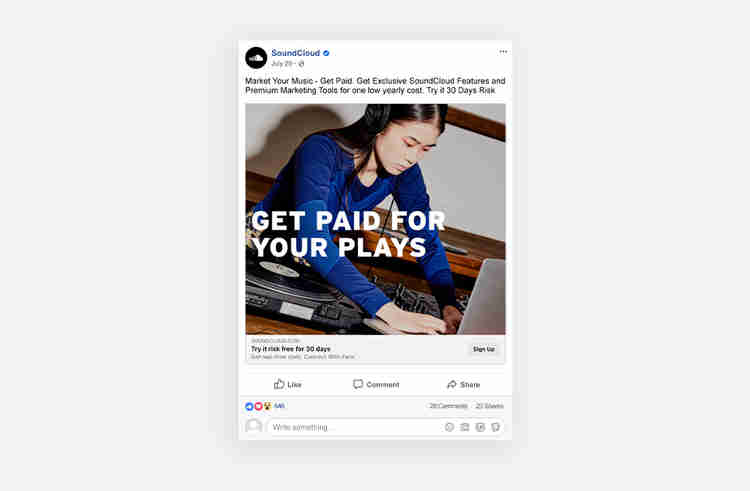 call to action examples from SoundCloud