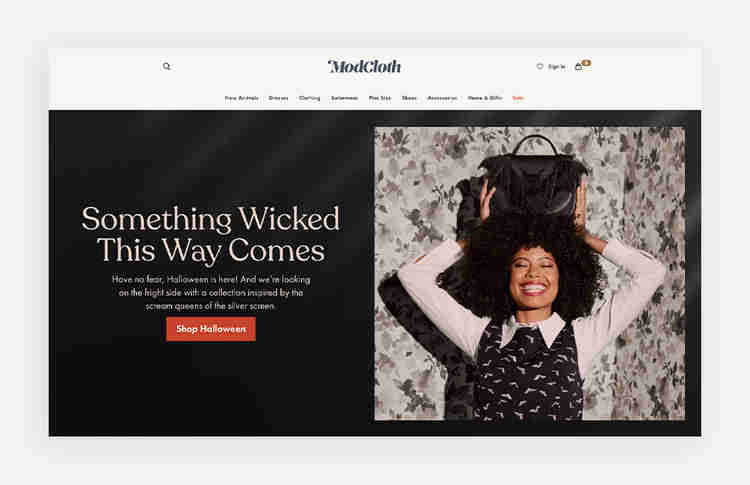 eCommerce call-to-action examples of Modcloth