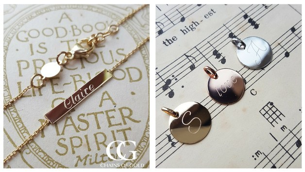 Personalised jewellery. Personalised gold jewellery. Personalised gifts for teachers end of term gifts