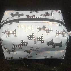 Blue Scottie Dog Print Box Pouch