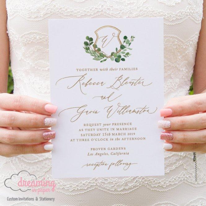 Greenery Gold Wedding Crest Invitations