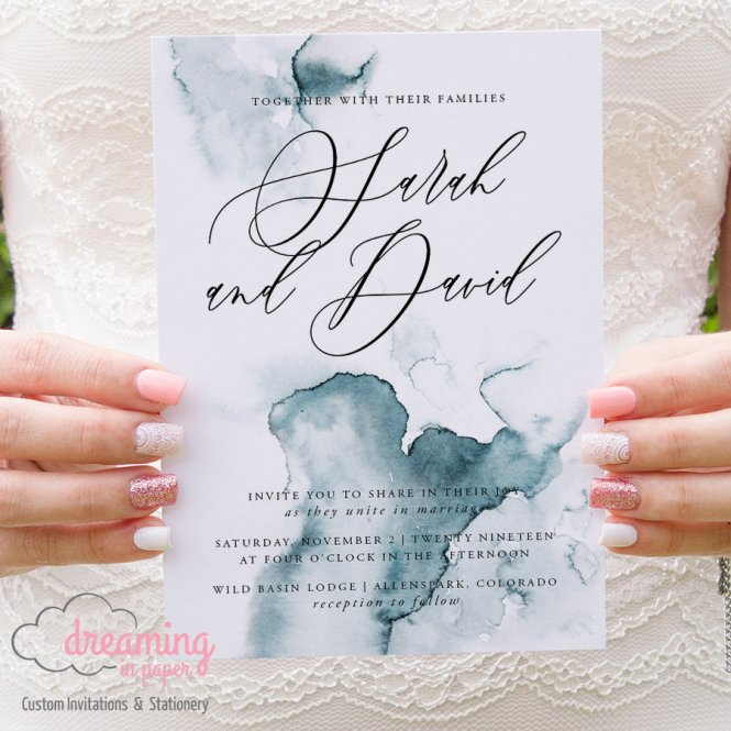 Organic Teal Watercolor Painting Wedding Invitations 277