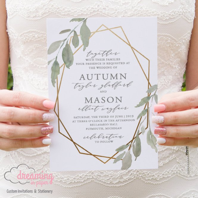 Leafy Green Gold Geometric Wedding Invitations 234