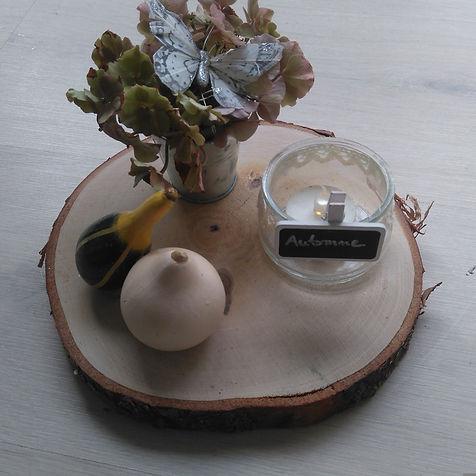 photophores d'automne coloquintes bougies hortensia ardoise déco brico tronçon de bois