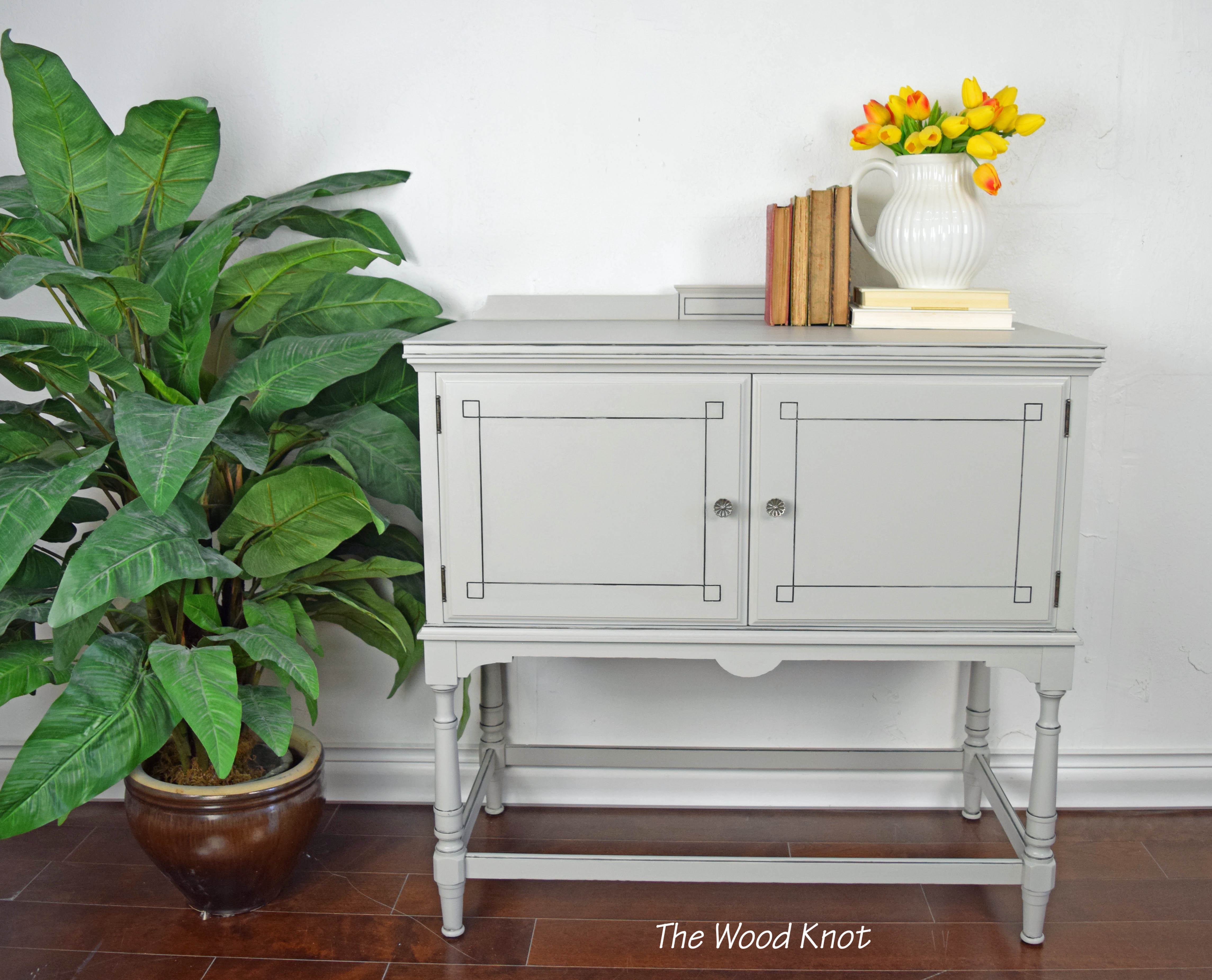 Victorian Style Walnut Gray And Black Console Table