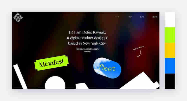 Gradient colors on Defne Kaynak's website