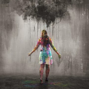 Preparing for big moments, young woman in colour under dark cloud
