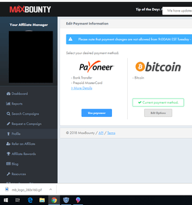 how maxbounty pays you.you can get paid in Bitcoin or by bank transfer through payoneer