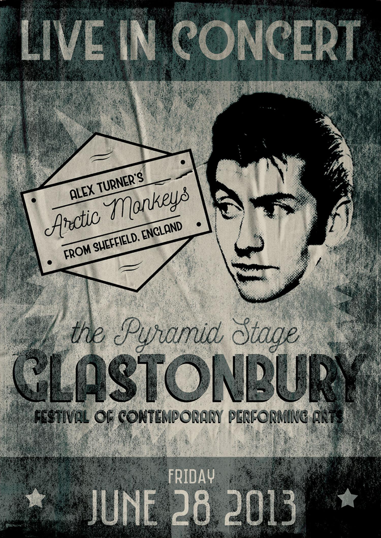 arctic monkeys glastonbury gig poster art print ryan the designer