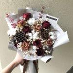 Deluxe Dried Flower Bouquet Burgundy Aliceblueflorist