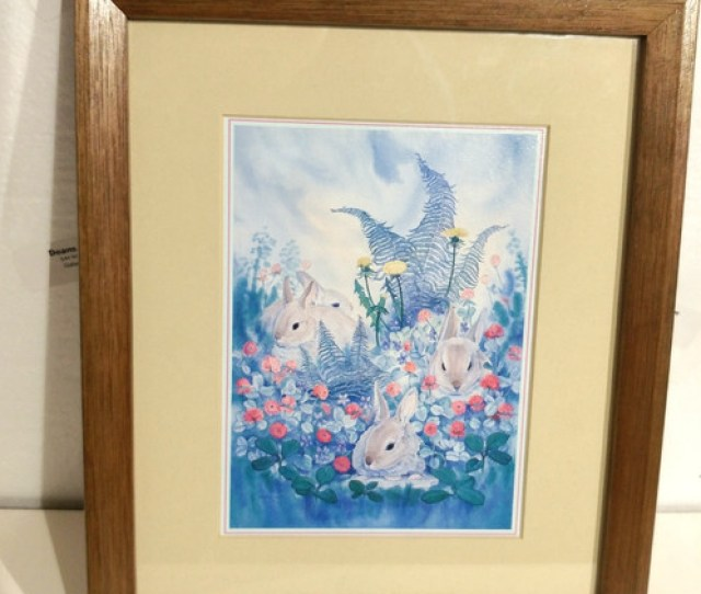 Art Watercolor Painting By Nancy Beronlus Babes In The Woods Rabbits W Frame  Excellent Condition Free Shipping Deans Liquidation Estate