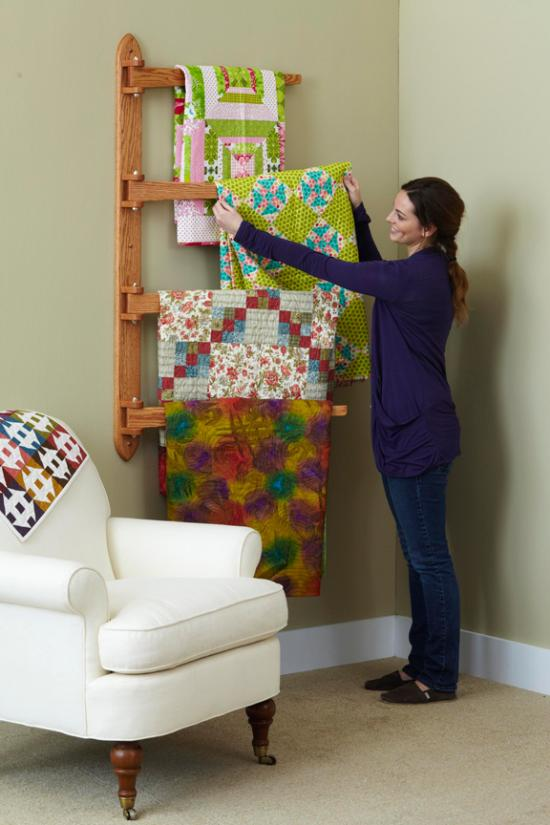 swinging arm quilt rack woodworking