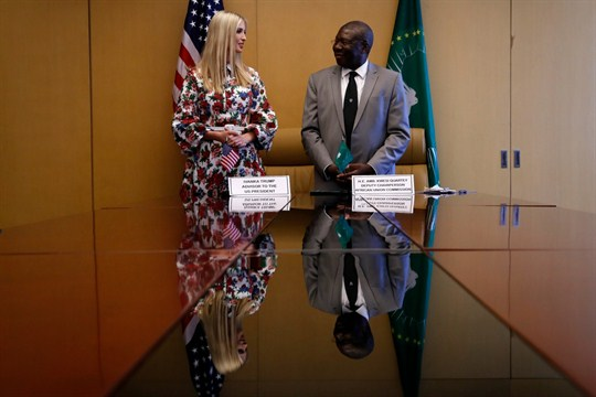 Donald Trump's daughter and adviser, Ivanka Trump, and Kwesi Quartey, Deputy Chairperson of the African Commission.