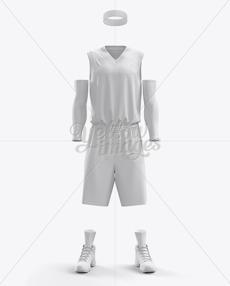 Download Men's Full Basketball Kit with V-Neck Jersey Mockup (Front ...