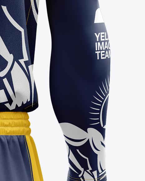 Download Men's Full Basketball Kit with V-Neck Jersey Mockup (Back ...