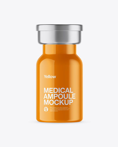 Glossy Medical Ampoule Mockup
