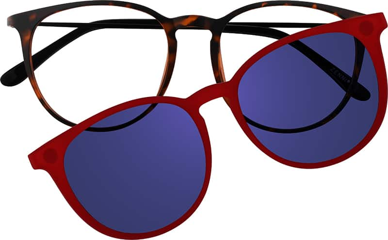 Blue Round Eyeglasses With Clip On 5603 Zenni Optical