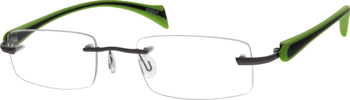Gray Rimless Metal Alloy Frame With Flexible Plastic