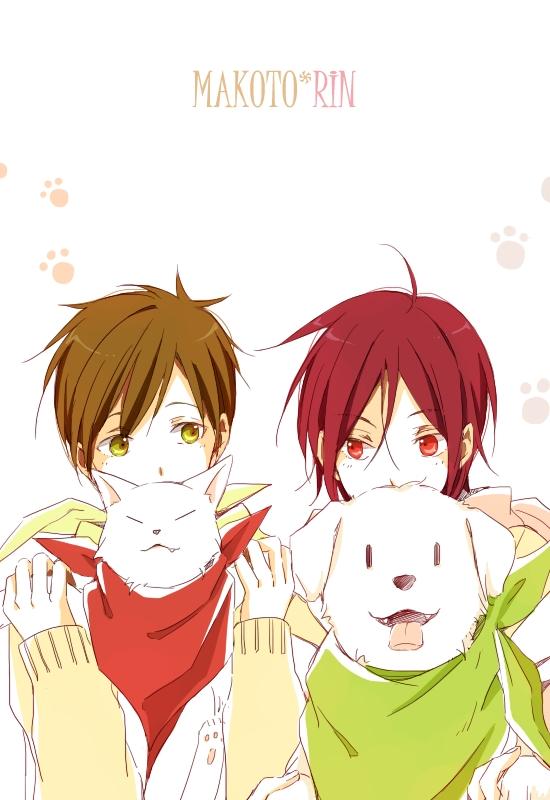 Tags: Anime, Pixiv Id 471270, Free!, Tachibana Makoto, Matsuoka Rin, Dog