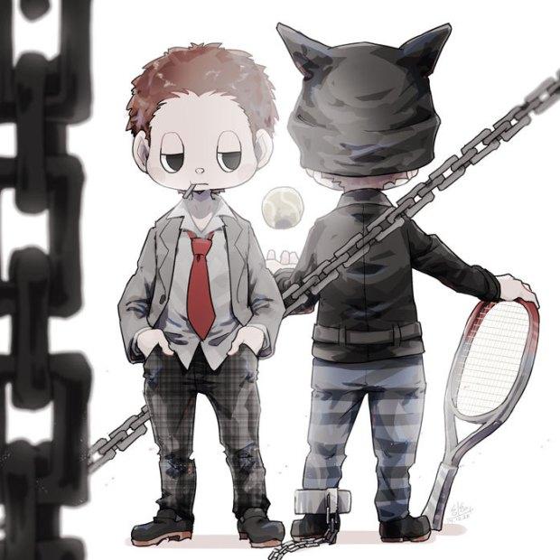 Tags: Anime, Pixiv Id 22929515, New Danganronpa V3, Hoshi Ryouma, Tennis Ball, Leather Jacket, Tennis, Striped Pants, Tennis Racket, Leather Clothes, Tumblr, Fanart, Twitter
